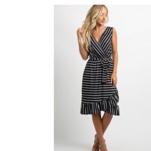 Pinkblush Black/White striped ruffle wrap dress XL